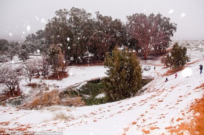 У пустелі Сахара випав сніг