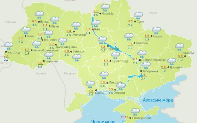 На вихідних по всій Україні йтимуть дощ та сніг